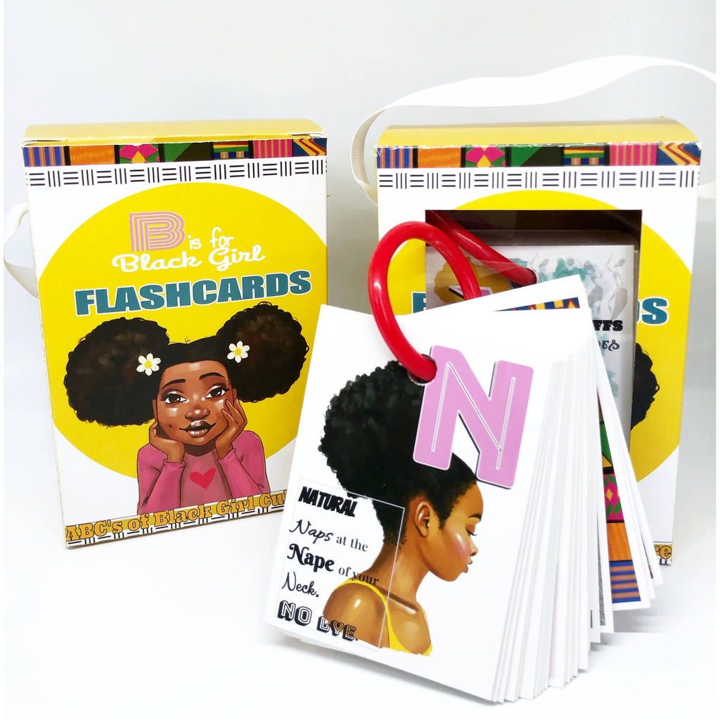 B is for Black Girl flashcard set perfect for learning alphabets