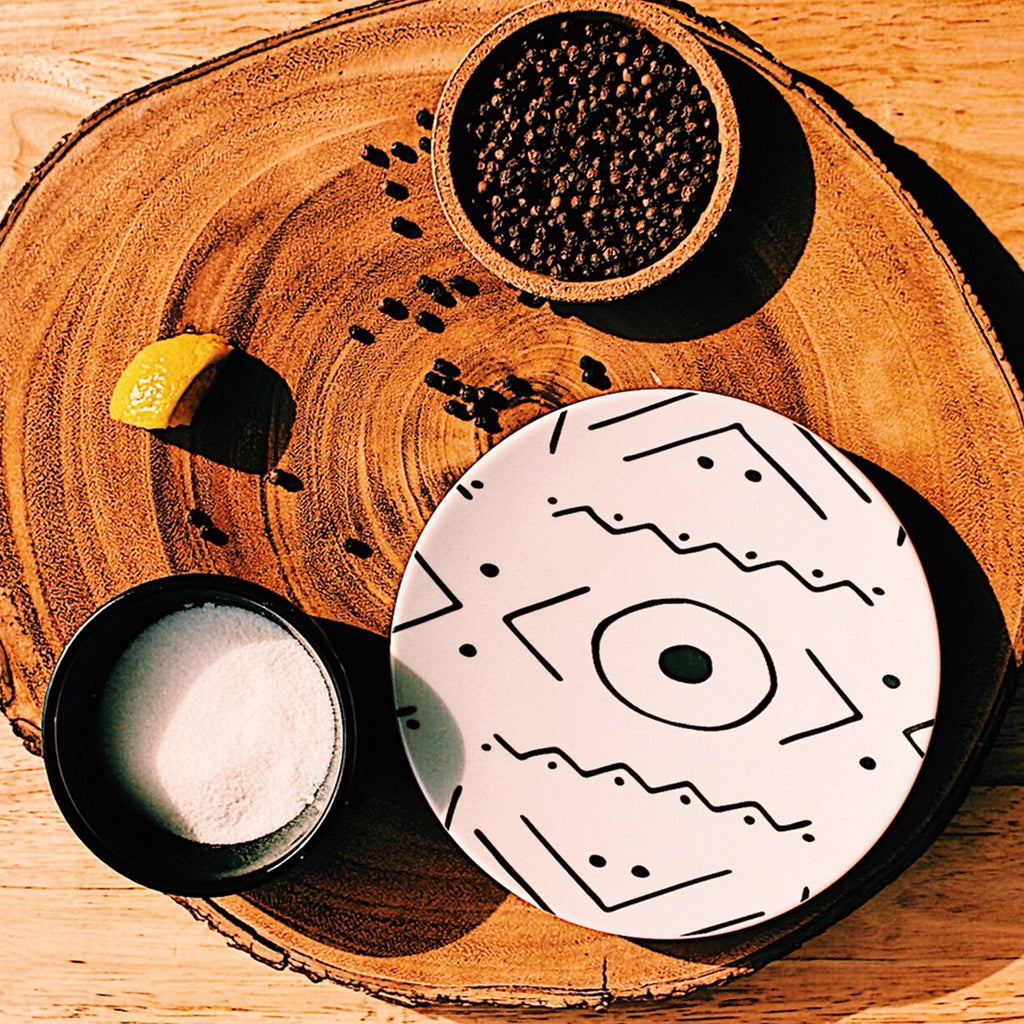 "African inspired ceramic dish collection. Which features the 10"" Dinner Plate, 8"" Side Plate and 6"" Bread Plate."