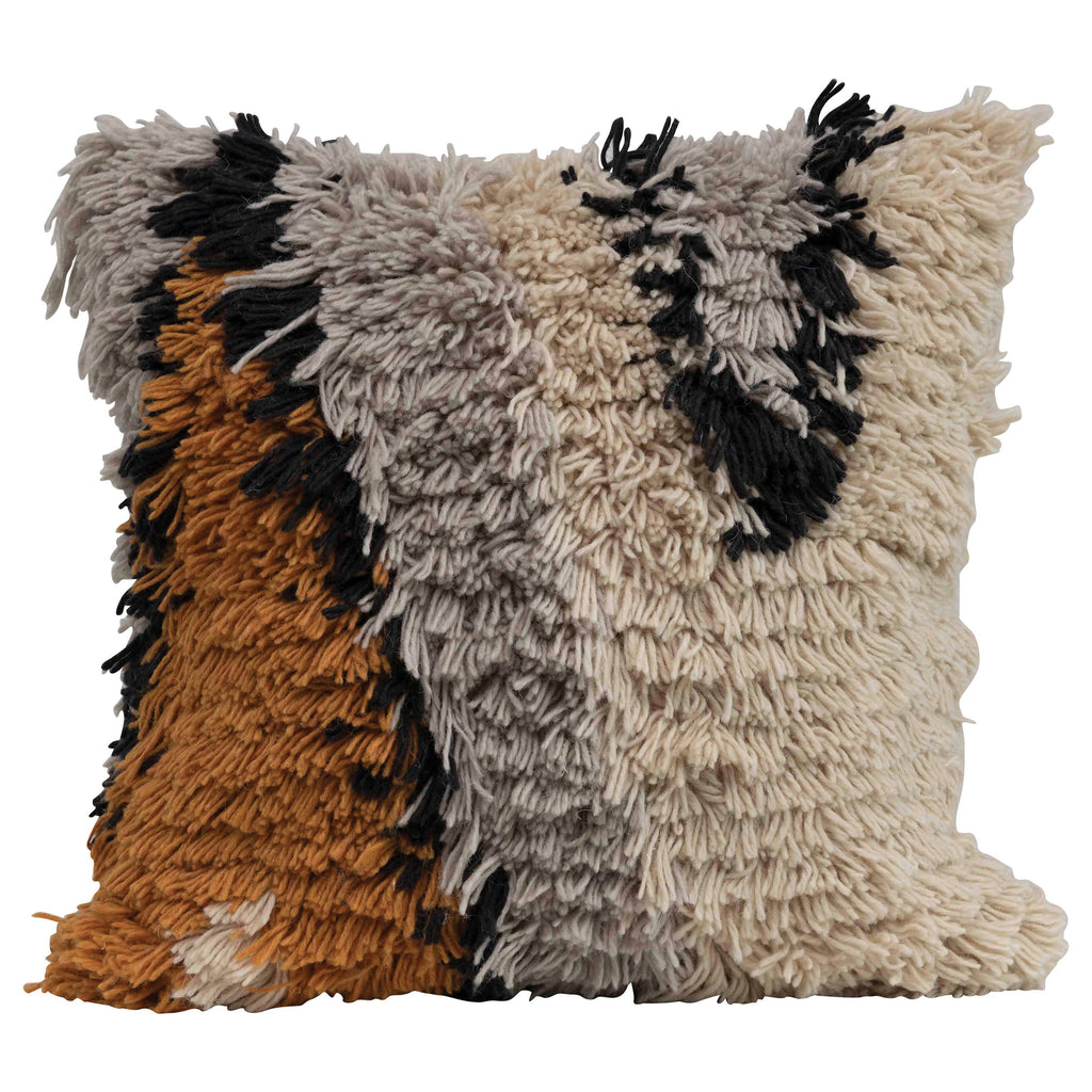 "Wool shag pillow, black, grey, brown mustard, and natural 24"" square design."