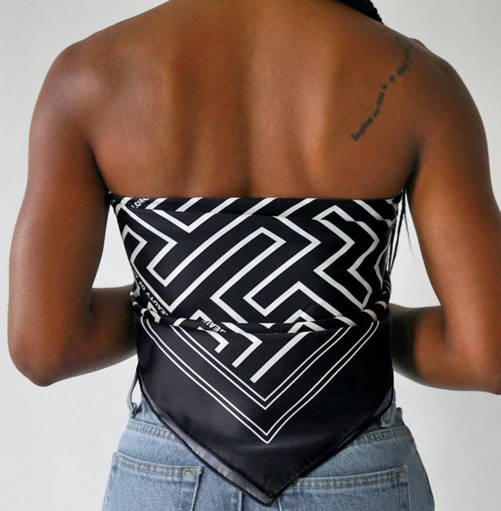 Beautiful black and white African inspired For The Proverbs Silk Scarf.
