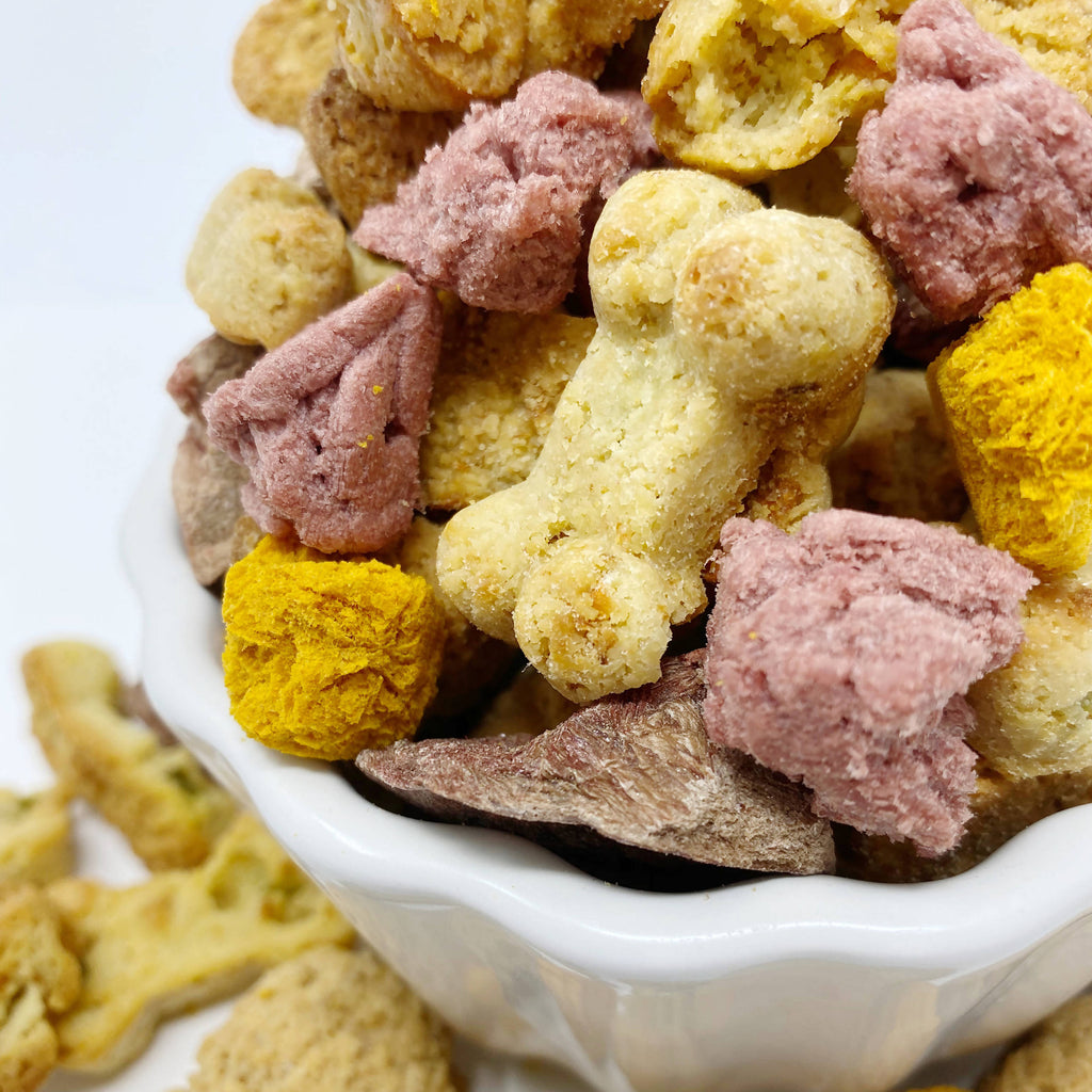 All natural raw and freeze dried training treat. Less than 1 calorie per treat in 3 delicious flavors