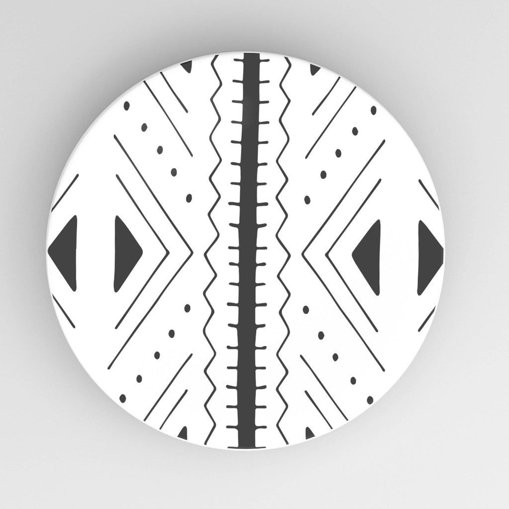 "Black and white African inspired ceramic 10"" dinner plate."