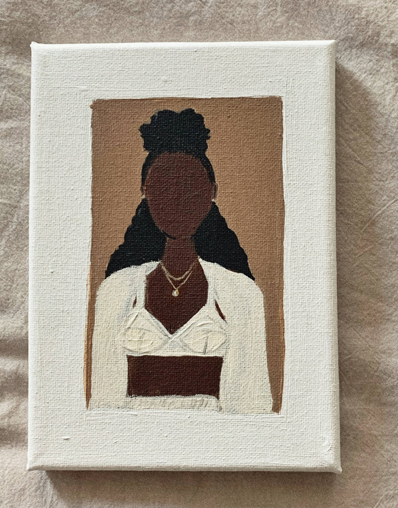 Black female modern art portrait. Original acrylic on stretched canvas 5 x 7 painting.