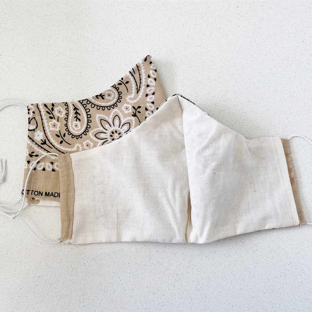 Nude Bandana Reusable Face mask handmade in Los Angeles.