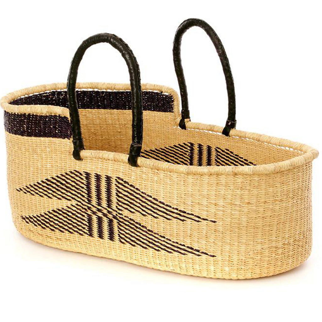 Handwoven Ghanaian basket made from stiff stalks of elephant grass and leather.