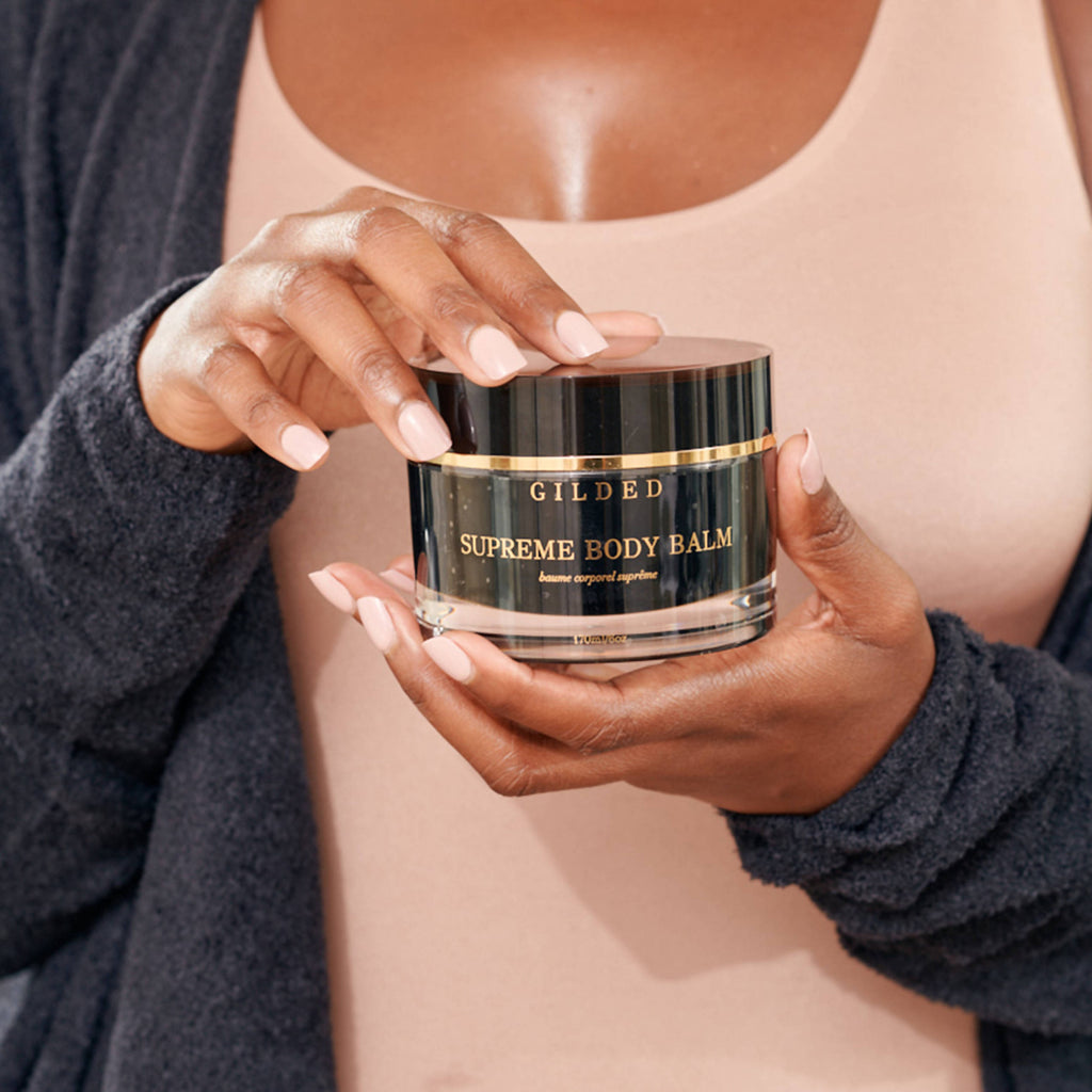 Supreme body balm blend made of cupuacu butter, shea butter, and meadow foam seed oil.