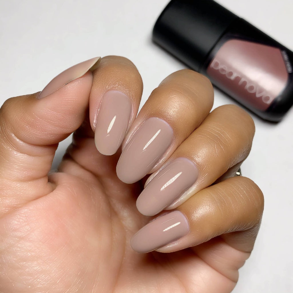 Vegan, non-toxic, cruelty free nail lacquer in taupe color.