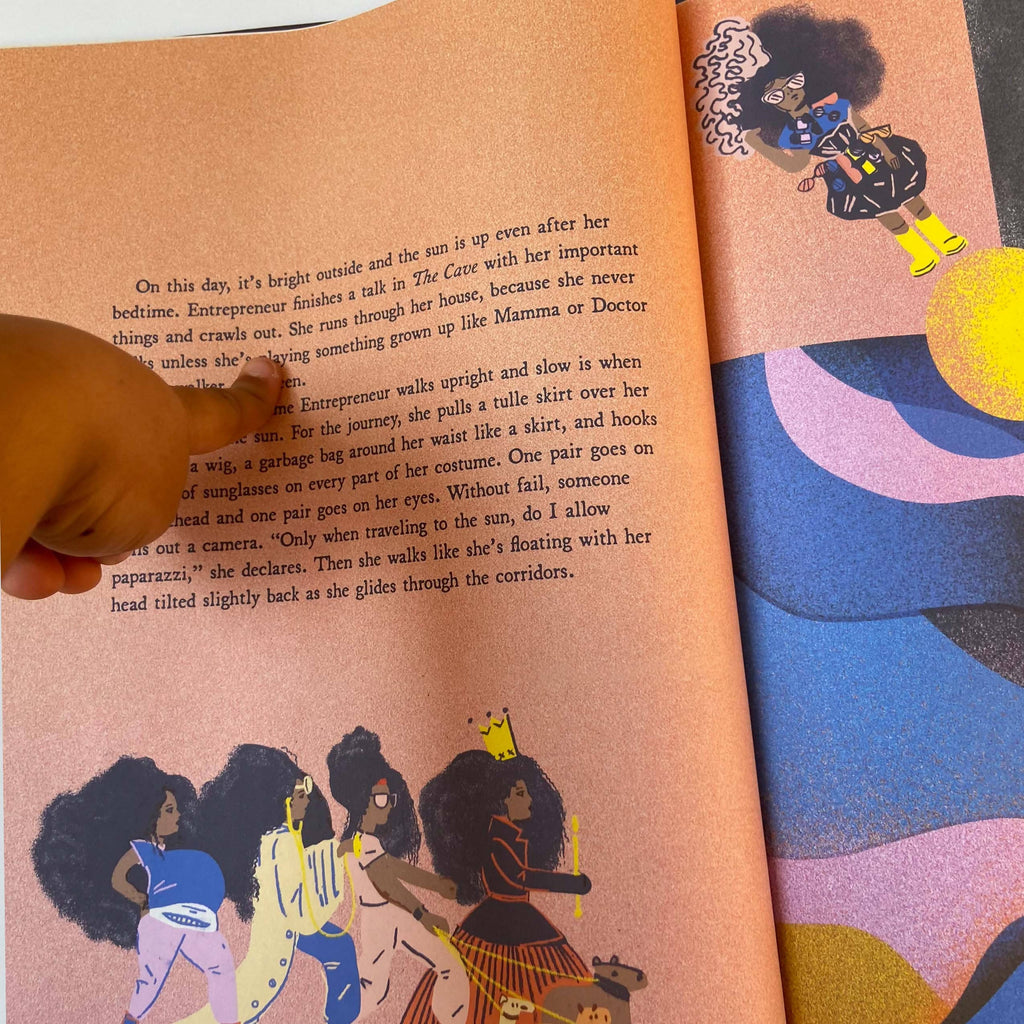 Hardcover children's book about a young black girl's journey. Available at Post 21.
