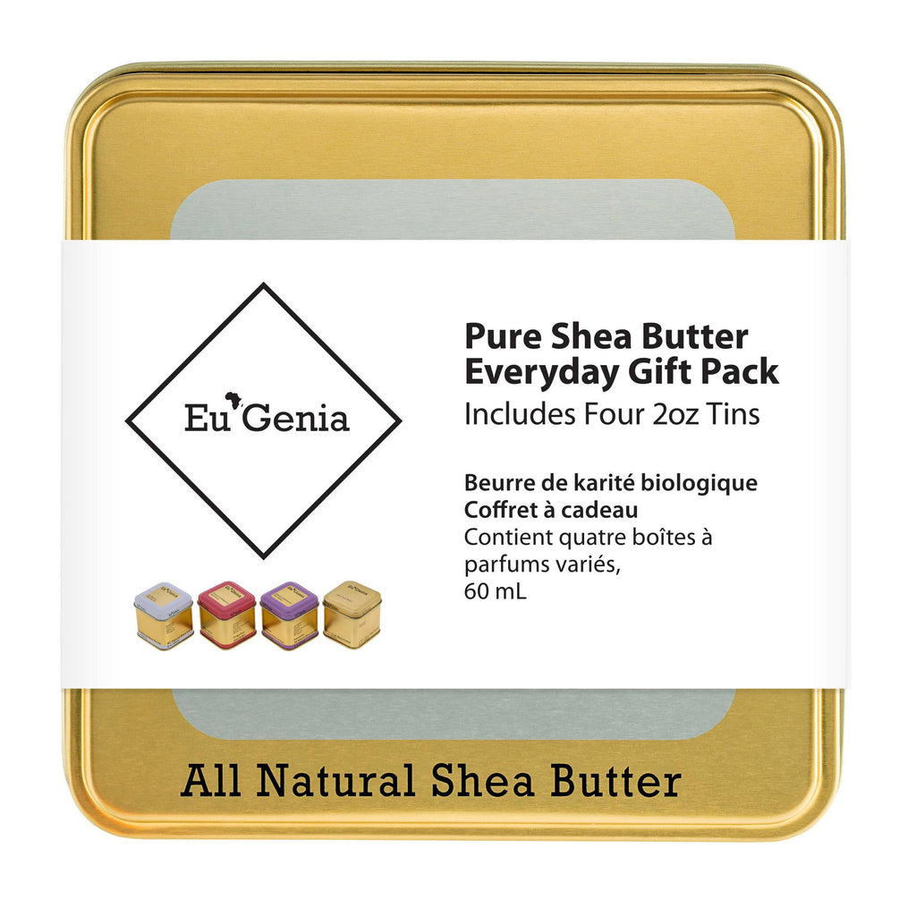 Gift bundle includes four 2oz tins of our 100% Pure Shea Butter Dermatological Formula in four assorted scents
