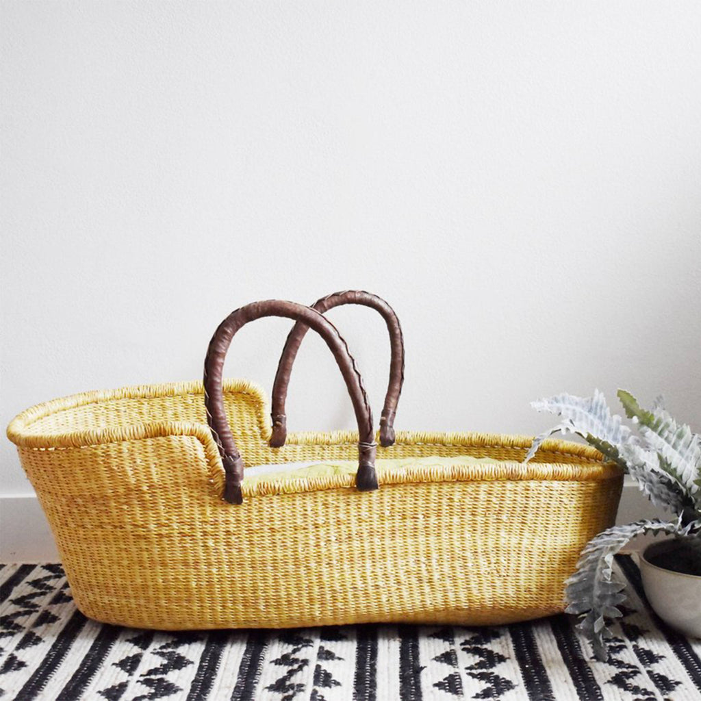 Ghanaian Natural Moses Basket with leather handles.