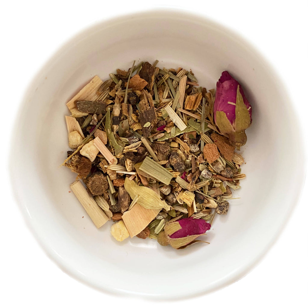 Ayurveda blend of herbs, organic flowers, and spices for a traditional medicine native to India.
