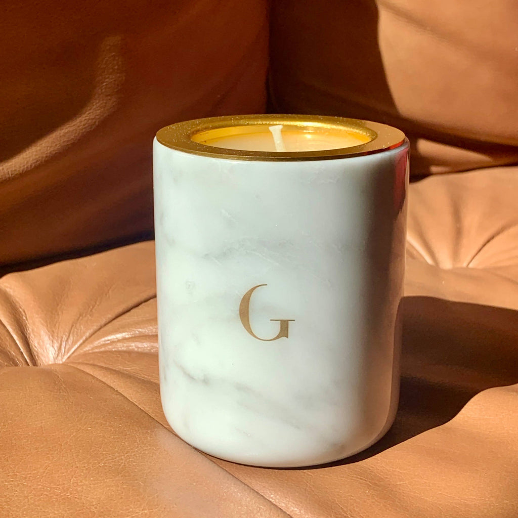 Elegant Marble white or black vessel with refillable candle
