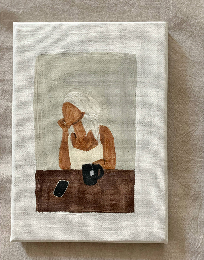 A minimal, elegant and original acrylic illustration of black lady sitting at table with tea.  Edit alt text