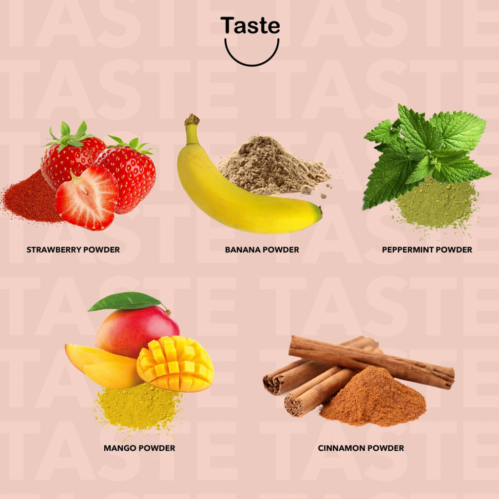 The Taste natural blend works with pH levels to alter the flavor of male and female personal fluids, adding both a fruity and semi-sweet taste.