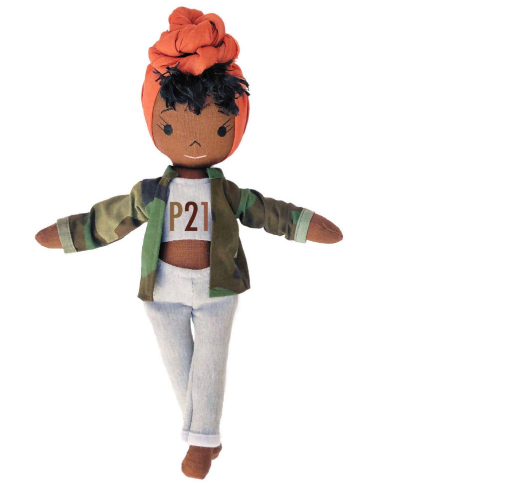 Handmade black doll with orange hair wrap and Post 21 clothes