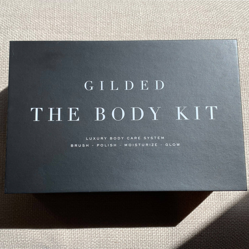 The Body Skin Care Kit includes handmade marble dry body brush, with brightening Body Polish, and hydrating, nourishing Body Balm.