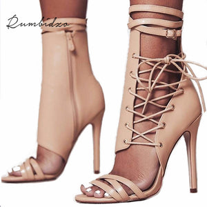 312d1d0f1d09 Rumbidzo Women Sandals 2018 Fashion Summer Gladiator Sandals Woman Shoes  Lace Up Ankle Strap High Heels
