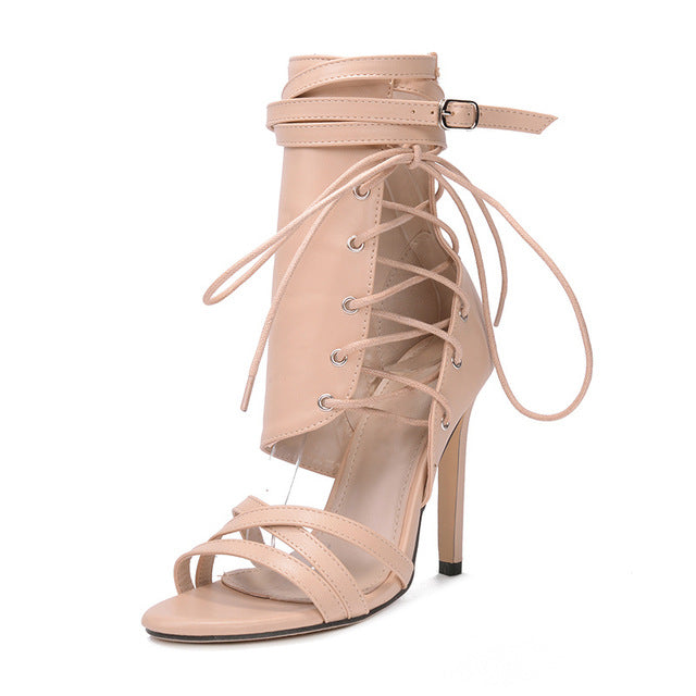 4303c57962a Rumbidzo Women Sandals 2018 Fashion Summer Gladiator Sandals Woman Shoes Lace  Up Ankle Strap High Heels