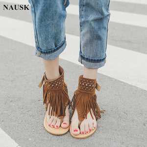 8b23b5a544158 2018 New Arrive Women Bohemian Sandals Flat Sandals Tassels Casual Summer  Shoes