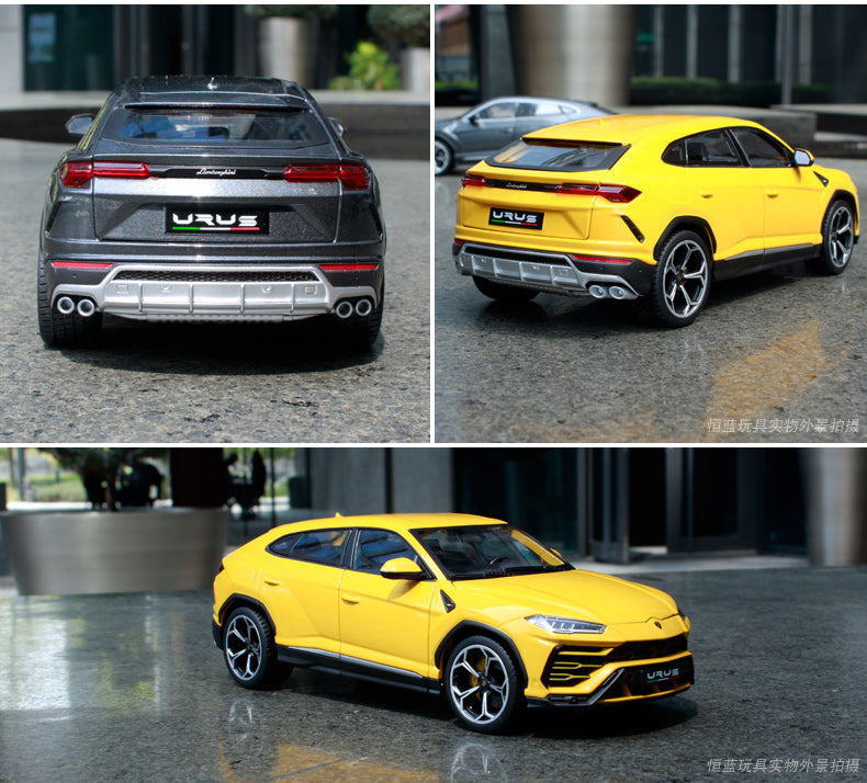 the back of the dark grey and bright yellow 1:18 Lamborghini Urus SUV side by side and individually