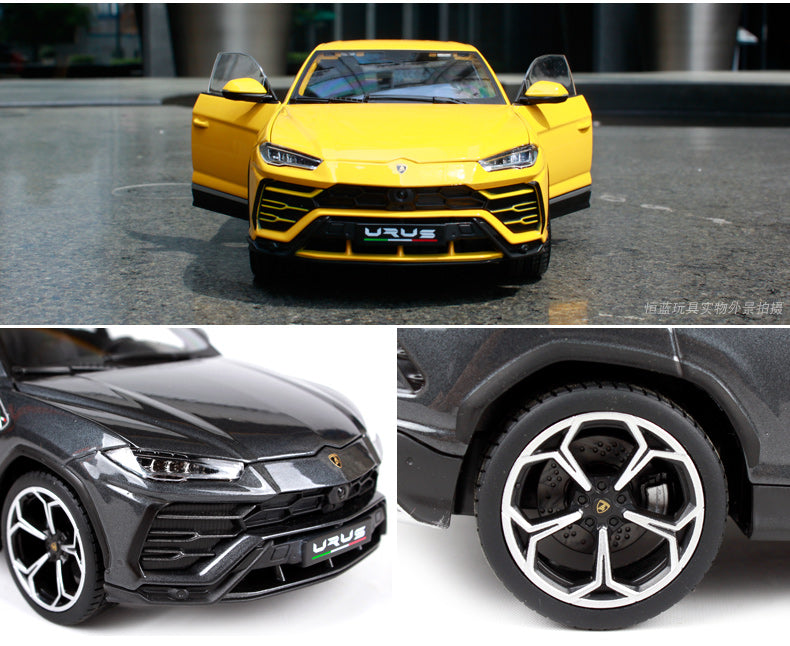 dark grey and bright yellow 1:18 Lamborghini Urus SUV side by side and individually showing wheels / rims / hubcaps