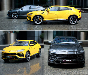 dark grey and bright yellow 1:18 Lamborghini Urus SUV side by side and individually