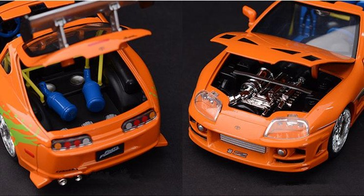 hood open and trunk open in one photo 1:24 1995 Toyota Supra Fast and Furious 8