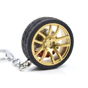 Car & Wheel Keychain with Disc Brakes