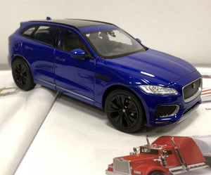 back rear view of 1:24 Jaguar F-Pace SUV Die-Cast Model blue