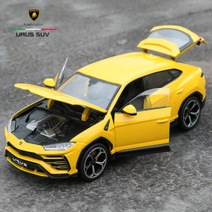 bright yellow 1:18 Lamborghini Urus SUV with doors trunk and hood open