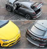 dark grey and bright yellow 1:18 Lamborghini Urus SUV side by side dark grey with doors and trunk open