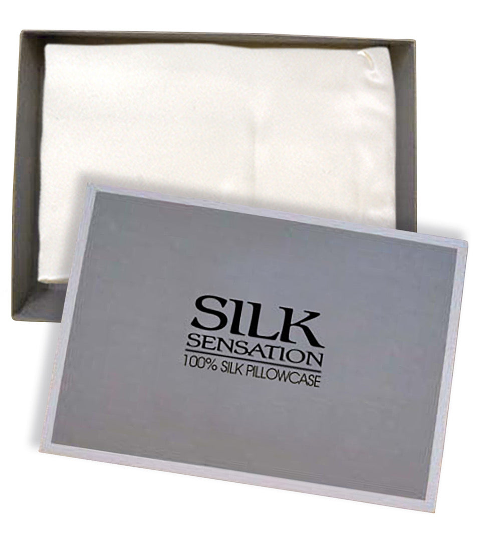100% Silk Pillowcase, Ivory, Gift boxed
