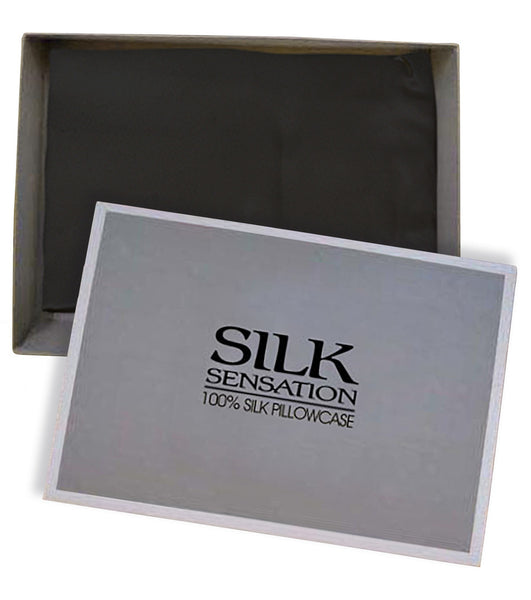100% Silk Pillowcase, Black, Gift Boxed