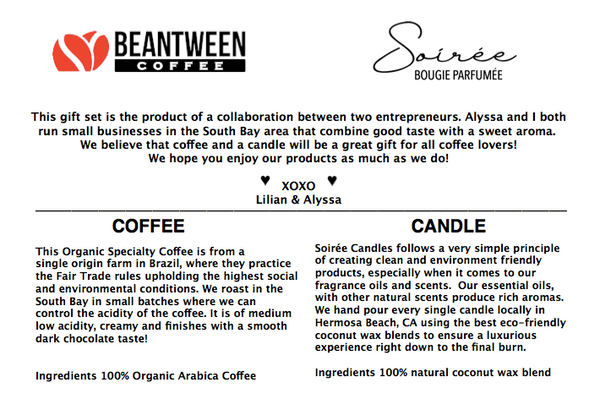 Coffee Gift set -Organic Specialty Coffee + Coffee Candle using natural coconut wax blend