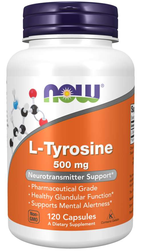 NOW Supplements, L-Tyrosine 500 mg, Supports Mental Alertness*, Neurotransmitter Support*, 120 Capsules