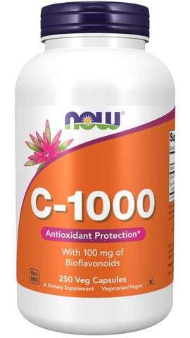 NOW Supplements, Vitamin C-1,000 with 100 mg of Bioflavonoids, Antioxidant Protection*, 250 Veg Capsules