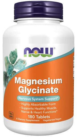 NOW Supplements, Magnesium Glycinate 100 mg, Highly Absorbable Form, 180 Tablets