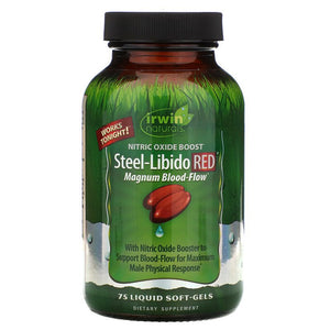 Irwin Naturals, Steel-Libido Red, Magnum Blood-Flow, 75 Liquid Soft-Gels