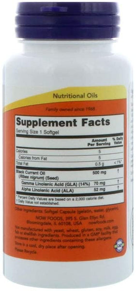 NOW Supplements, Black Currant Oil 500 mg with 70mg of GLA (Gamma-Linolenic Acid), 100 Softgels
