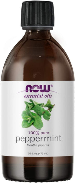 NOW Essential Oils, Peppermint Oil, Invigorating Aromatherapy Scent, Steam Distilled, 100% Pure, Vegan, Child Resistant Cap, 16-Ounce
