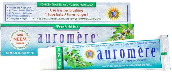 Auromere Ayurvedic Herbal Toothpaste, Fresh Mint - Vegan, Natural, Non GMO, Flouride Free, Gluten Free, with Neem & Peelu (4.16 oz)