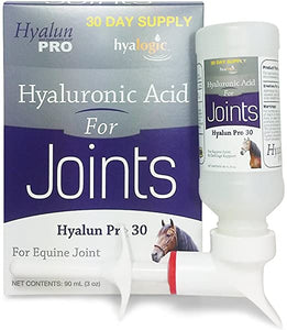 Hyalogic Hyalun Pro Horse Joint Supplement–Pure Hyaluronic Acid (HA) Equine Joint Supplement & Cartilage Care– Available as 30 and 90 Day Supplement, Horse Muscle Rub and Gel (Equine Syringe Oral)