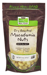 NOW - Macadamia Nuts, Dry Roasted & Salted | 9 oz