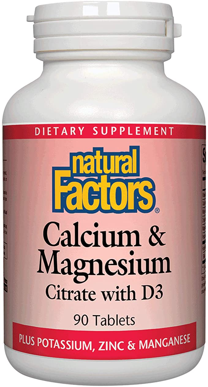 Natural Factors, Calcium & Magnesium Citrate with Vitamin D3, Support for Bones and Teeth, 90 Tablets