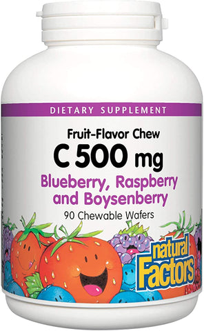 Natural Factors-C 500 mg Natural Fruit Chews Blueberry, Raspberry & Boysenberry  90 TAB