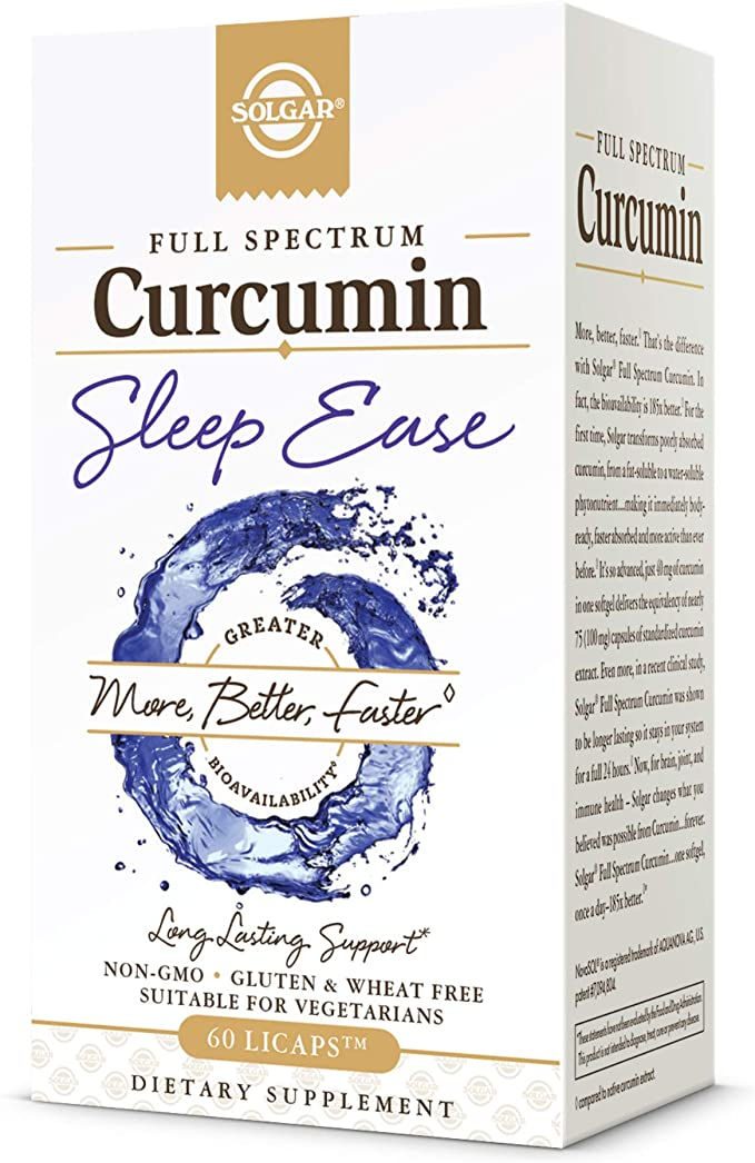 Solgar Full Spectrum Curcumin Sleep Ease, 60 Licaps - Supports Calm, Tranquil Rest & Relaxation, Antioxidant Support - Melatonin, PharmaGABA, Venetron, Curcumin - Non-GMO, Vegetarian - 30 Servings