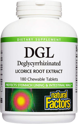 Natural Factors-DGL Chewable Tablets 400 mg 10:1 Extract Deglycyrrhizinated Licorice Root Extract 180 TAB