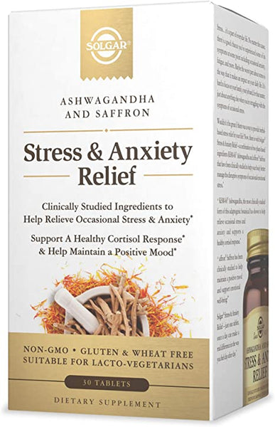 Solgar Stress & Anxiety Relief, 30 Tablets - Clinically Studied Ashwagandha & Saffron - Helps Relieve Occasional Stress & Anxiety, Helps Maintain a Positive Mood