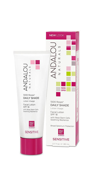 Andalou Naturals 1000 Roses Daily Shade Facial Lotion SPF 18, 2.7 Ounces