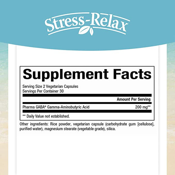 Natural Factors Stress-Relax Pharma GABA 100 mg , Non-Drowsy Stress Support for Relaxation and Mental Focus, 60 Vegetarian Capsules (30 Servings)